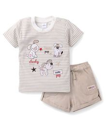 Olio Kids Half Sleeves Striped T-Shirt And Shorts Pup Embroidery - Beige