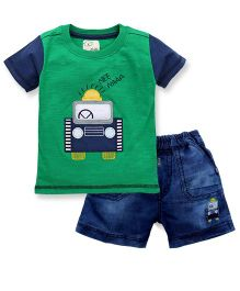 Olio Kids Half Sleeves T-Shirt And Shorts Embroidered Patch - Green