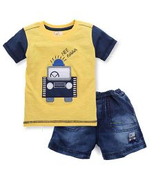 Olio Kids Half Sleeves T-Shirt And Shorts Embroidered Patch - Yellow