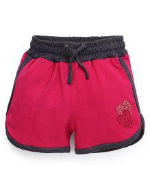 Olio Kids Drawstring Shorts Heart Studded Detail - Pink