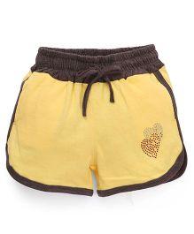 Olio Kids Drawstring Shorts Heart Studded Detail - Yellow