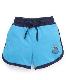 Olio Kids Drawstring Shorts Heart Studded Detail - Blue