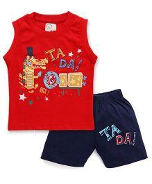 Olio Kids Sleeveless Printed T-Shirt And Shorts - Red