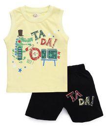 Olio Kids Sleeveless Printed T-Shirt And Shorts - Yellow