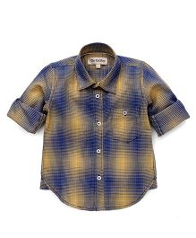 The KidShop Double Shaded Checkered Shirt - Yellow & Blue