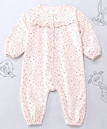 Berrytree Organic Cotton Frilled Night Suit Romper - Light Pink