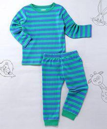 Berrytree Stripe Full Sleeves Night Suit - Green