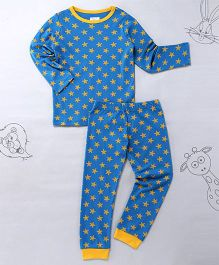 Berrytree Star Print Round Neck Night Suit - Blue