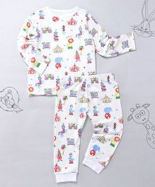 Berrytree Organic Cotton Circus Print Full Sleeves Night Suit - White