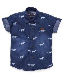 Jash Kids Fold-Up Half Sleeves Printed Denim Shirt - Blue