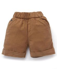 Jash Kids Solid Color Shorts - Brown