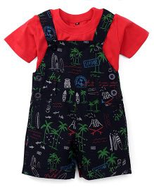 Jash Kids Dungaree With Inner Tee Allover Seashore Print - Navy Blue & Red