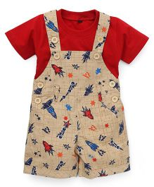 Jash Kids Dungaree With Inner Tee Allover Spacecraft Print - Brown & Red