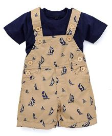 Jash Kids Dungaree With Inner Tee Allover Boat Print - Light Brown & Navy Blue