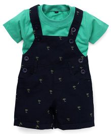 Jash Kids Dungaree With Inner Tee Allover Tree Print - Navy Blue & Green
