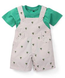 Jash Kids Dungaree With Inner Tee Allover Tree Print - Cream & Green