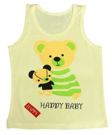 Kiwi Sleeveless Vest Bear Print - Light Yellow