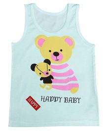 Kiwi Sleeveless Vest Bear Print - Sea Green