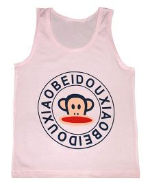 Kiwi Sleeveless Vest Monkey Print - Pink