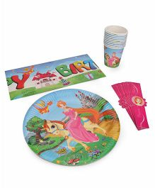 Themez Only Tableware Combo Set Princess Theme - Blue Pink