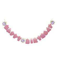 Peppa Pig Happy Birthday Banner - Pink