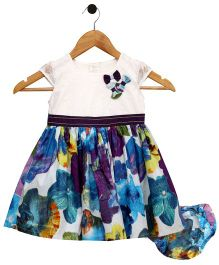 Bella Moda Floral Printed Dress With Nappy Cover - Blue