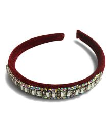 Mauve Collection Classic Velvet Studded Hairband - Maroon