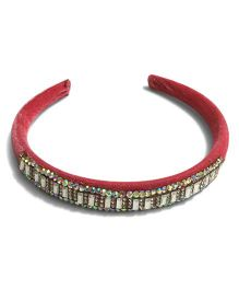 Mauve Collection Classic Velvet Studded Hairband - Pink