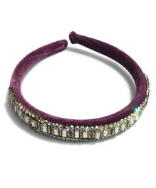 Mauve Collection Classic Velvet Studded Hairband - Plum