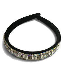 Mauve Collection Classic Velvet Studded Hairband - Black