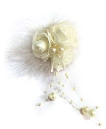 Mauve Collection Rose With Feather And Pearl Alligator Hair Clip - White