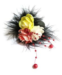 Mauve Collection Rose With Feather And Pearl Alligator Hair Clip - Black