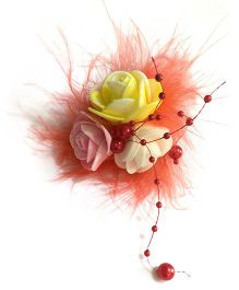 Mauve Collection Rose With Feather And Pearl Alligator Hair Clip - Orange