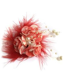 Mauve Collection Rose With Feather And Pearl Alligator Hair Clip - Red