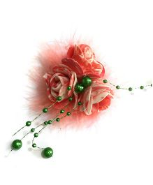 Mauve Collection Rose With Feather And Pearl Alligator Hair Clip - Pink