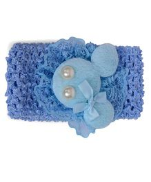 Mauve Collection Pearl Embellished Headband - Blue