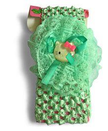 Mauve Collection Kitty Flower Applique Headband - Green