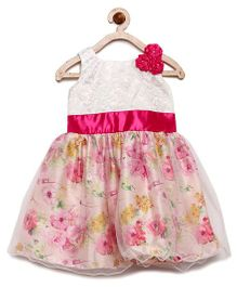 Winakki Kids Flower Applique & Printed Party Dress - White & Pink