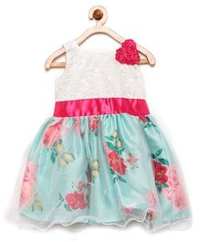 Winakki Kids Flower Applique & Printed Party Dress - Green