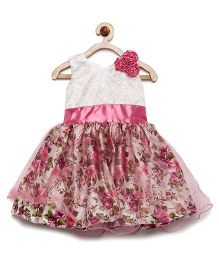 Winakki Kids Flower Applique & Printed Party Dress - Dark Pink