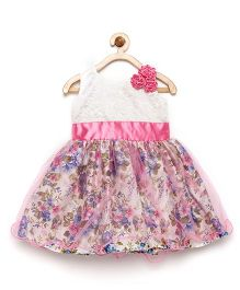 Winakki Kids Flower Applique & Printed Party Dress - Pink