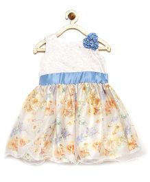Winakki Kids Multi Flower Applique & Printed Party Dress - Blue