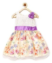 Winakki Kids Multi Flower Applique & Printed Party Dress - Lilac