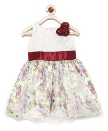 Winakki Kids Mini Flower Applique & Printed Party Dress - Red