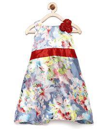 Winakki Kids Sleeveless Flower Printed Dress - Grey