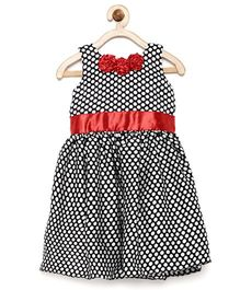 Winakki Kids Polka Dot Printed Flare Dress - Black