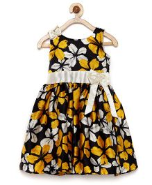 Winakki Kids Floral Printed Bow Applique Dress - Black Golden & White