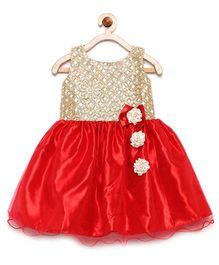 Winakki Kids Bodice Sequin Work Flare Dress - Red