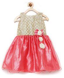 Winakki Kids Bodice Sequin Work Flare Dress - Peach