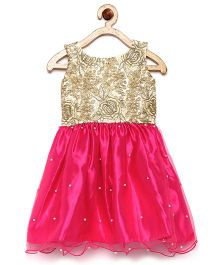 Winakki Kids Bodice Sequin Work Pearl Applique Dress - Pink & Golden